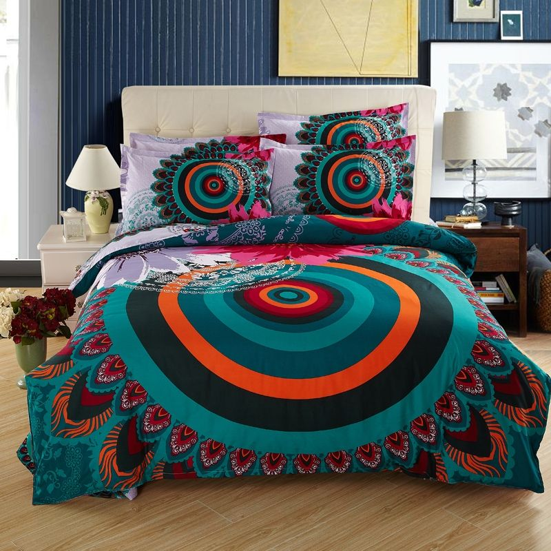teal orange and dark green vintage boho style peacock feather pattern circle print moroccan themed full size bedding sets