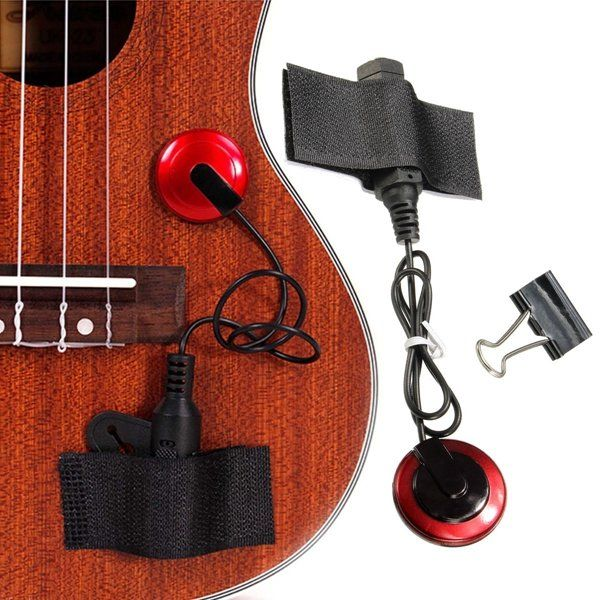 Piezo Contact Microphone Pickup With Clamp Strap For Guitar Violin Ukulele Banjo Banjo