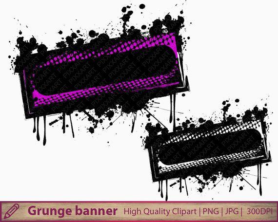 Grunge frame clipart, distressed banner clip art, halloween splatter, scrapbooking, commercial use, digital instant download, png jpg 300dpi