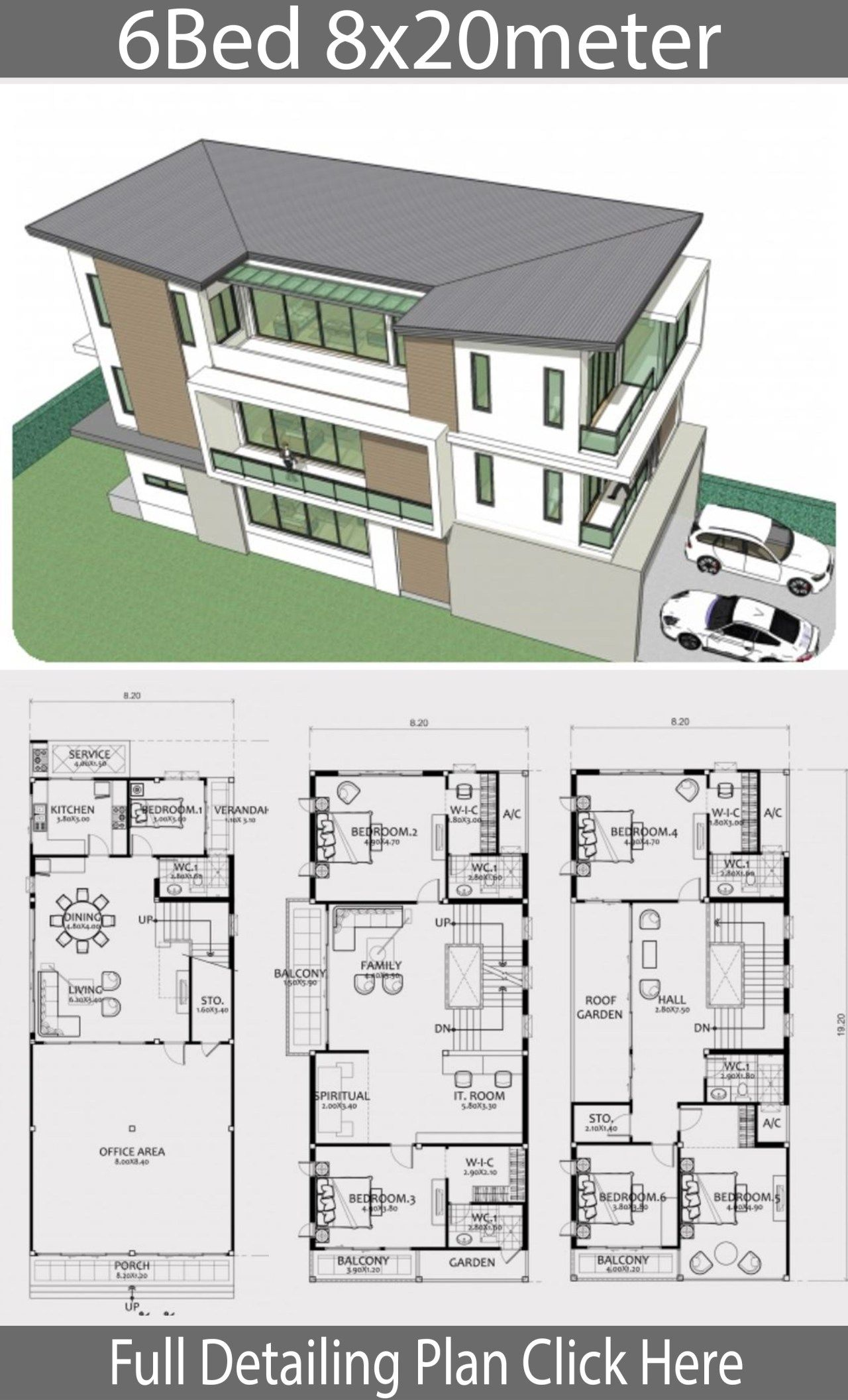 Home Design Plan 8x20m With 6 Bedrooms In 2020 House Design Modern House Plans