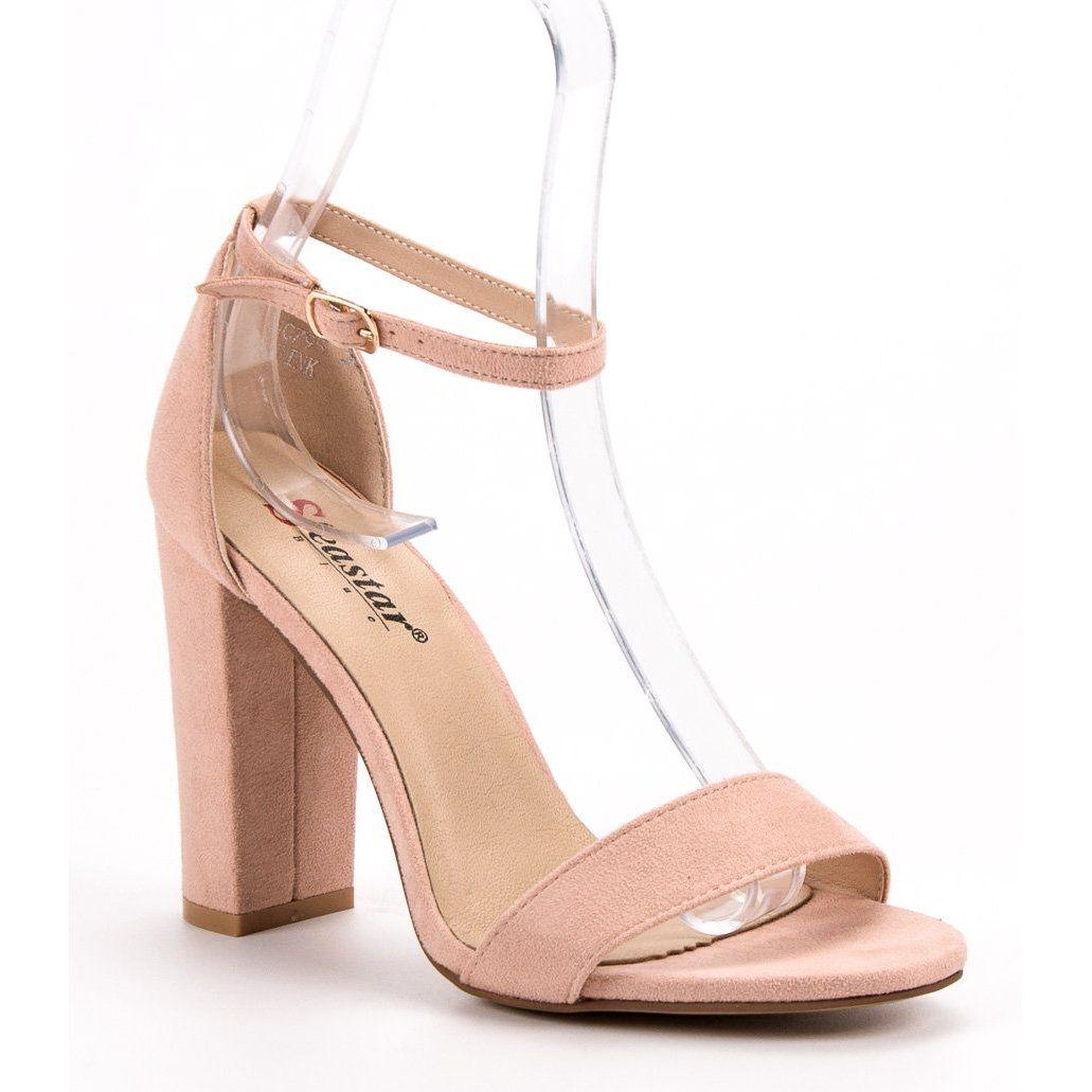 Seastar Seksowne Sandalki Na Slupku Rozowe Heels Shoes Peep Toe