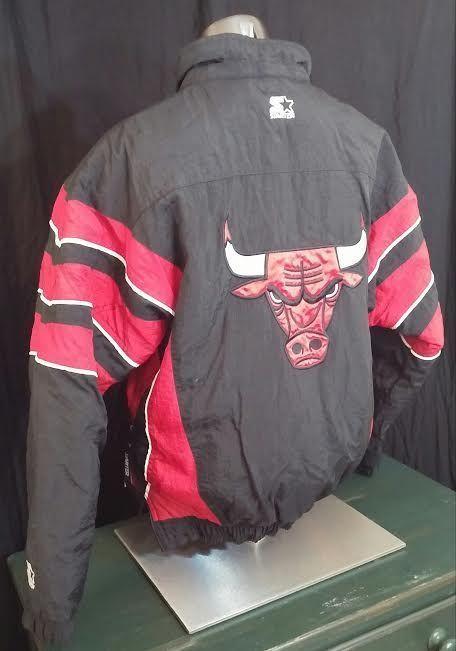 Chicago Bulls Starter Jacket Nba Vintage 90s Puffer Coat Black Red 1 2 Zip M Starter Chicagobulls Puffer Coat Jackets Black Coat