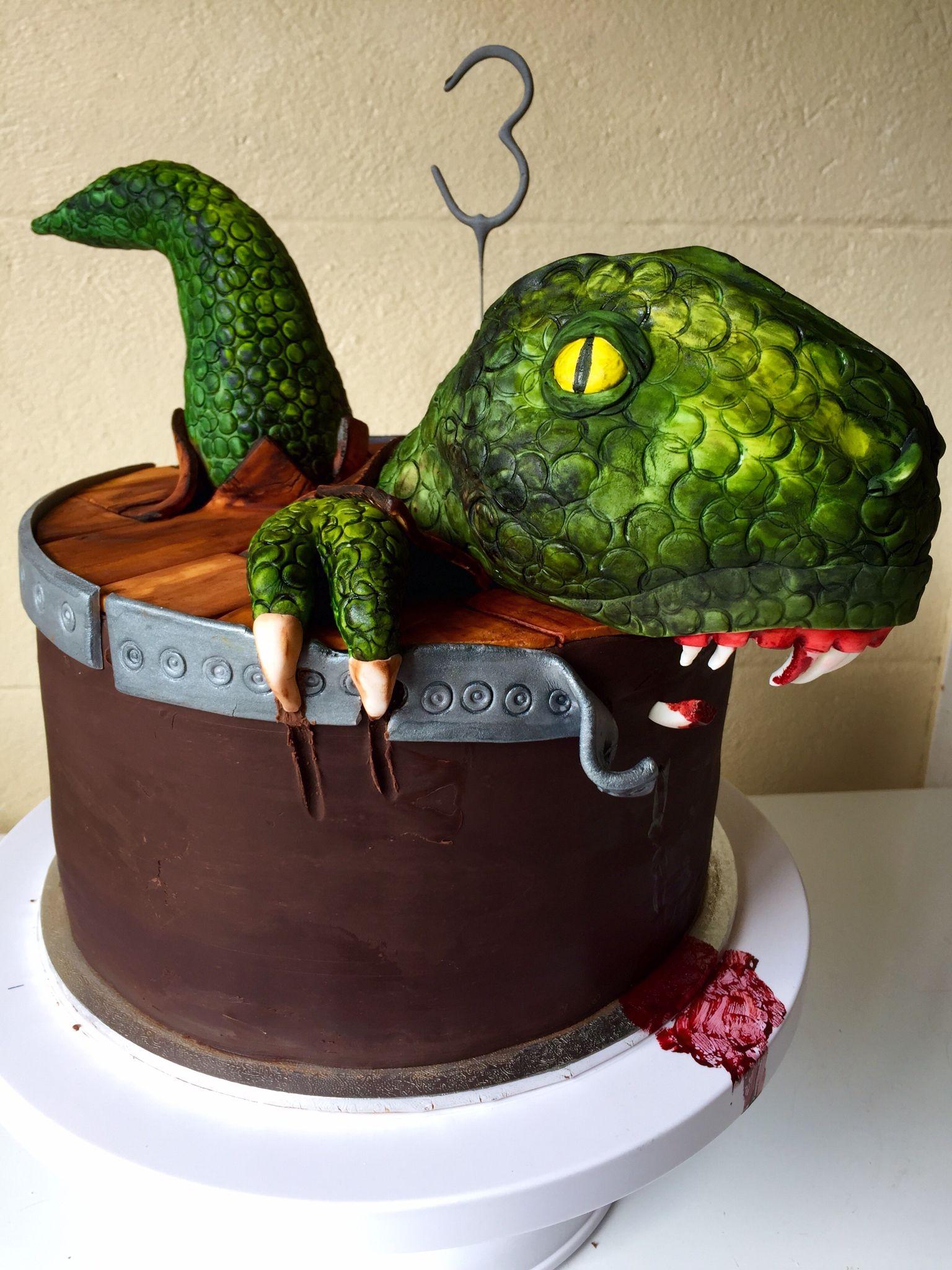 Boys birthday Dinosaur Cake Dinosaur escaping from cake Chocolate