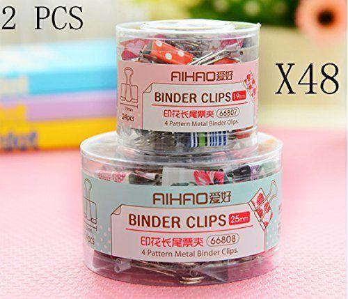 West Beauty 2 Pack Set Pcs Cute Binder Clips 19mm 25mm Assorted