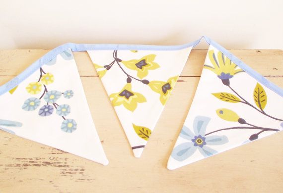 Funky blue green & yellow flowered fabric bunting by NicoletteDawn, £13.50