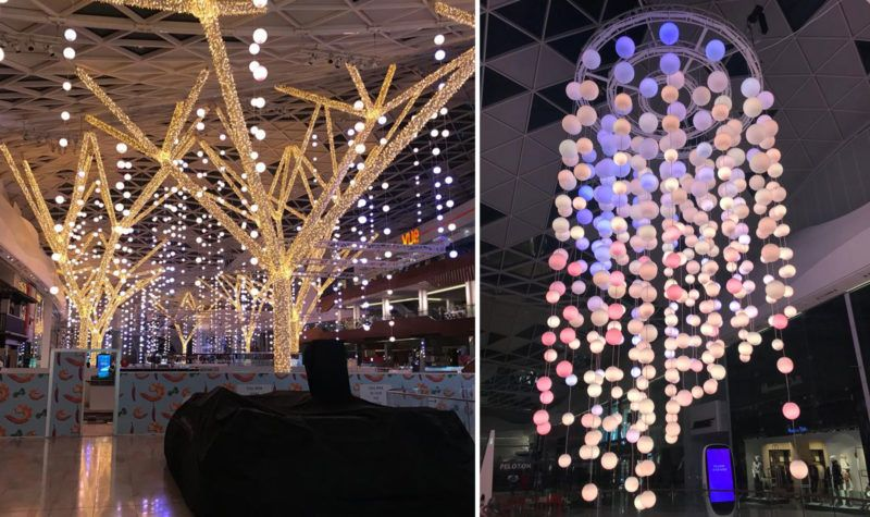 "e7cec3364 London's Westfield Shopping Center gets its ""sparkle on"" for Christmas.  #mkillumination #festivelights #westfieldlongon @westfieldlondon"