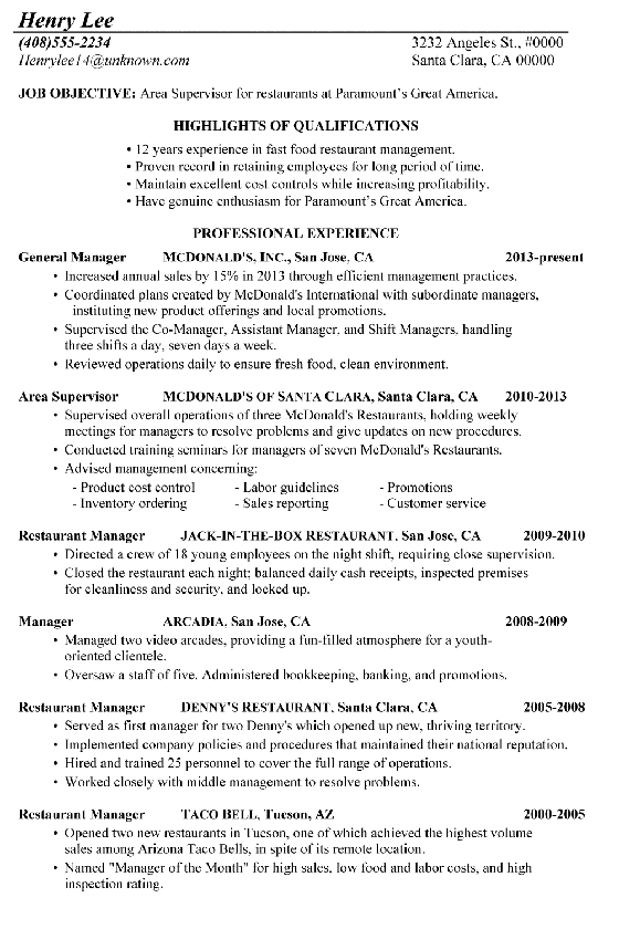 Chronological Resume Sample Restaurant Supervisor Job