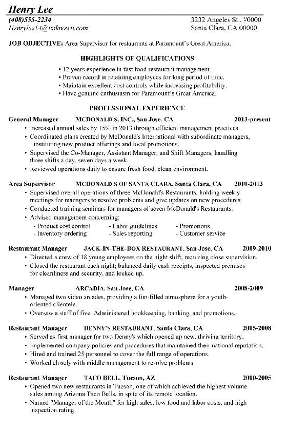 Chronological Resume Sample Restaurant Supervisor Manager Resume Job Resume Samples Restaurant Resume