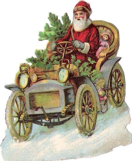 Oblaten Glanzbild Scrap Nikolaus Santa Father Xmas Weihnachtsmann