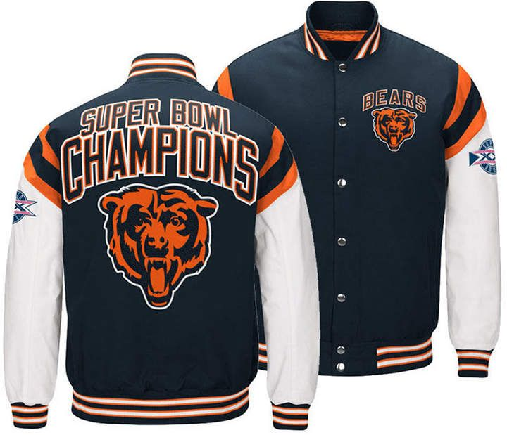 Authentic Nfl Apparel Men S Chicago Bears Home Team Varsity Jacket Navy White Xxl Nfl Outfits Chicago Bears Clothes Varsity Jacket