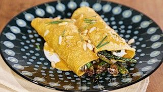 Asparagus, Mushroom & Goat Cheese Enchiladas with Pine Nut Mole Sauce Recipe by Pati Jinich - The Chew