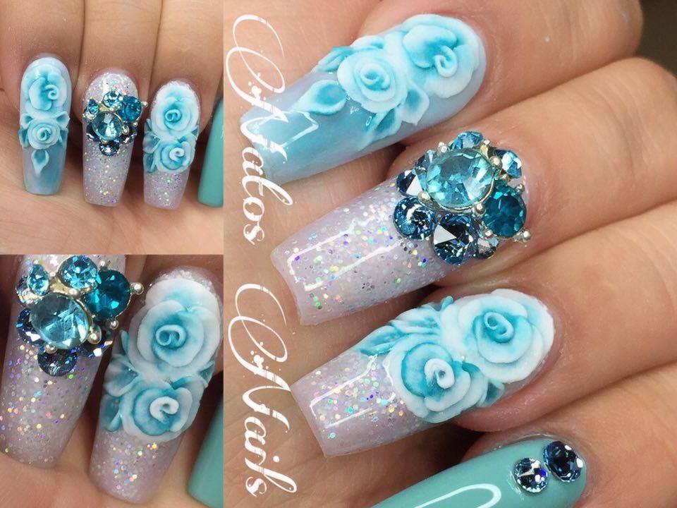 Uñas Acrilicas Aqua Con Rosa en 3D | Natos Nails | BELLEZA DE MANOS ...