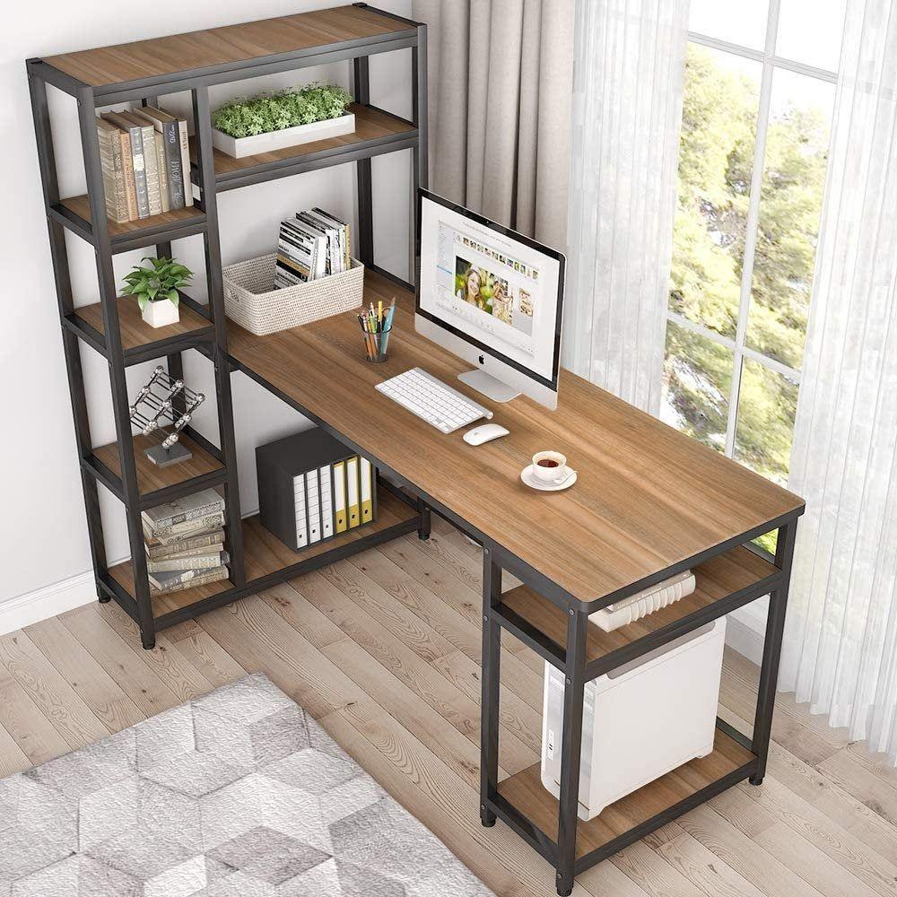 Reversible Large Computer Desk 9 Storage Shelves Office Desk Etsy In 2020 Modern Home Office Desk Home Office Design Desk Design