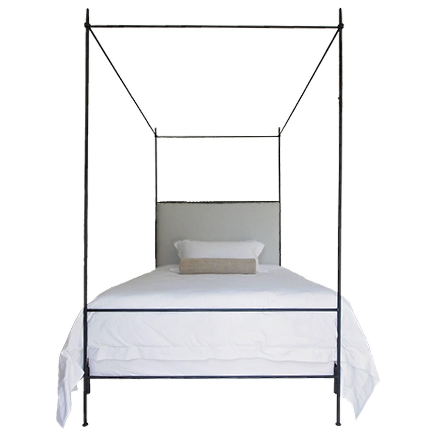 Tara Shaw Maison Louis XVI Style Iron Upholstered Canopy Bed Queen