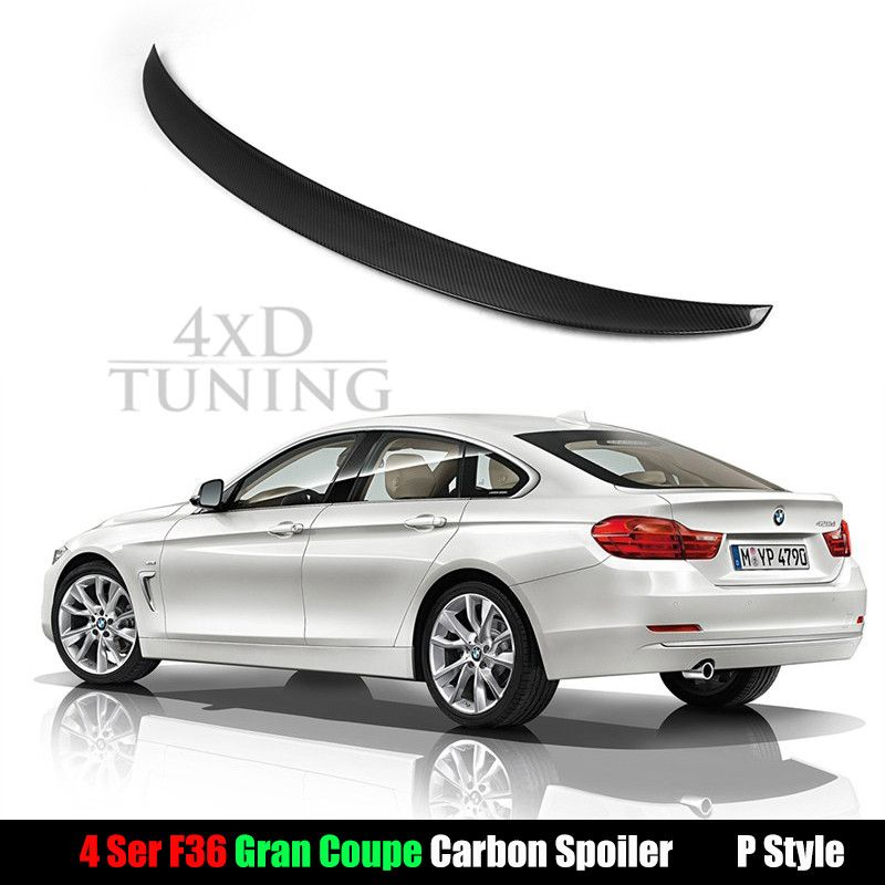 BMW M4 F82 Coupe Full Carbon Fiber Rear trunk boot lip Spoiler P-style 2014-up