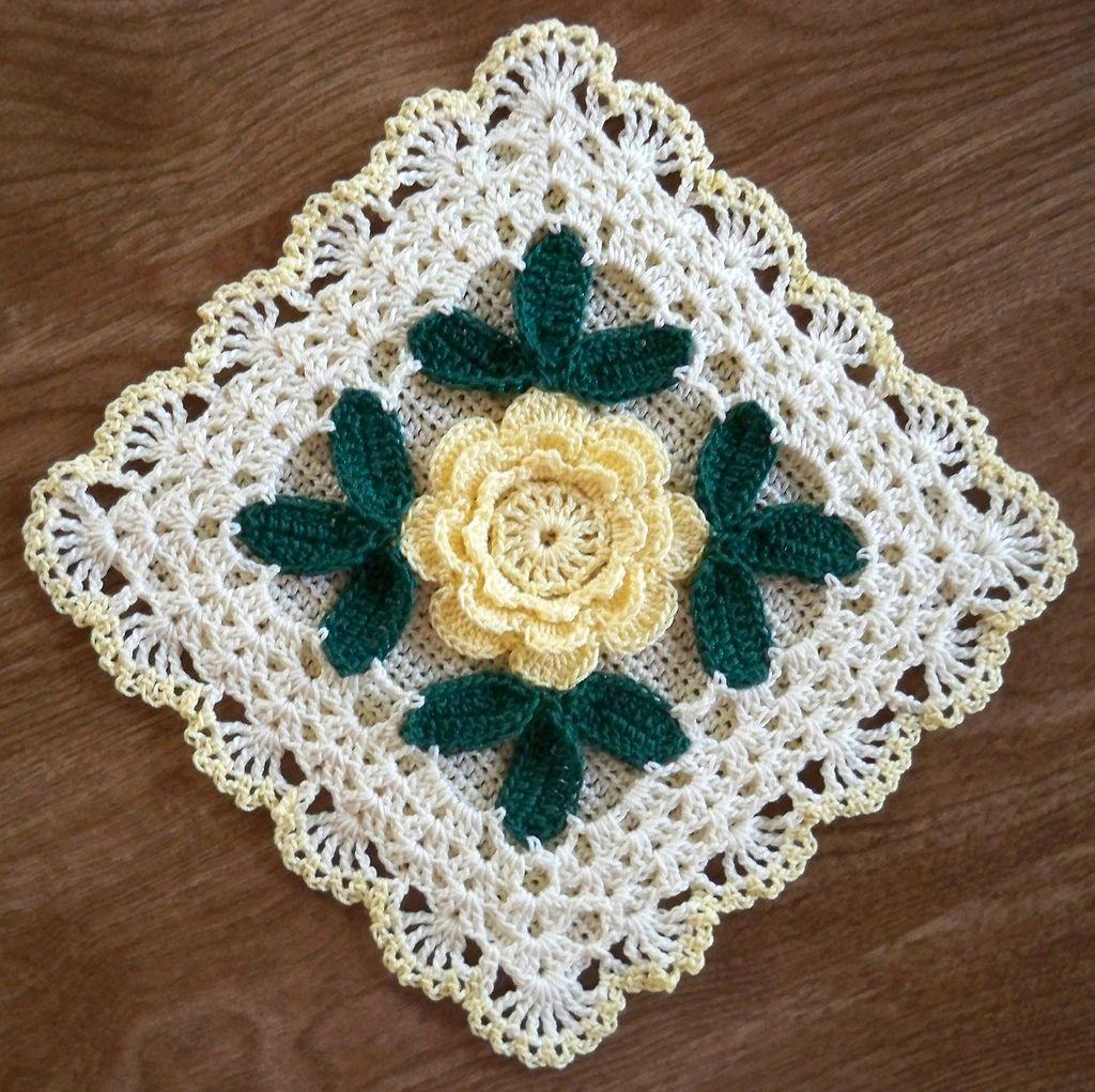Irish Rose Potholder with yellow rose