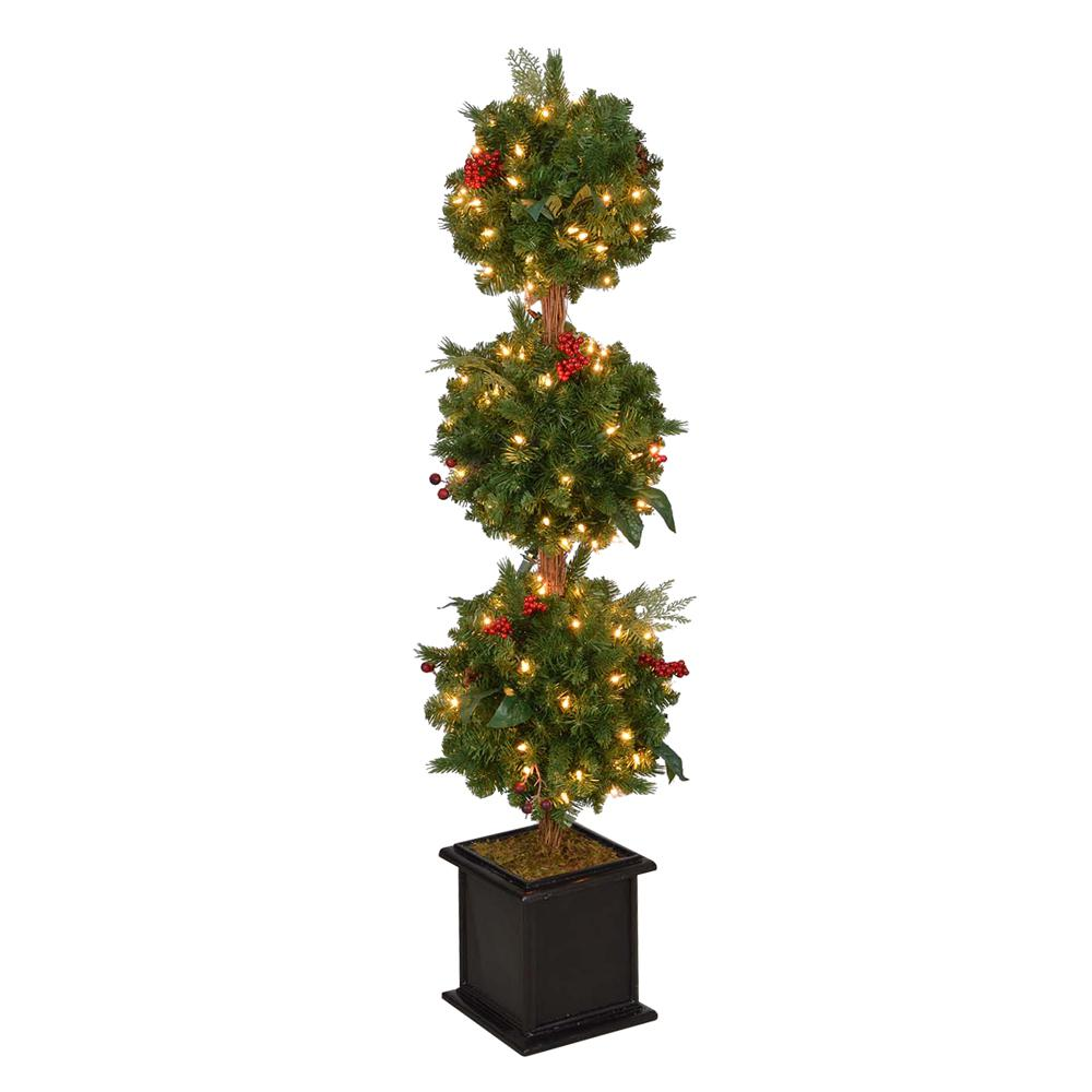 Home Accents Holiday 4 Ft Pre Lit Winslow Fir Artificial Christmas Potted Tree With Clear Lights Tp40p4598c00 The Home Depot Christmas Topiary Christmas Pots Potted Trees