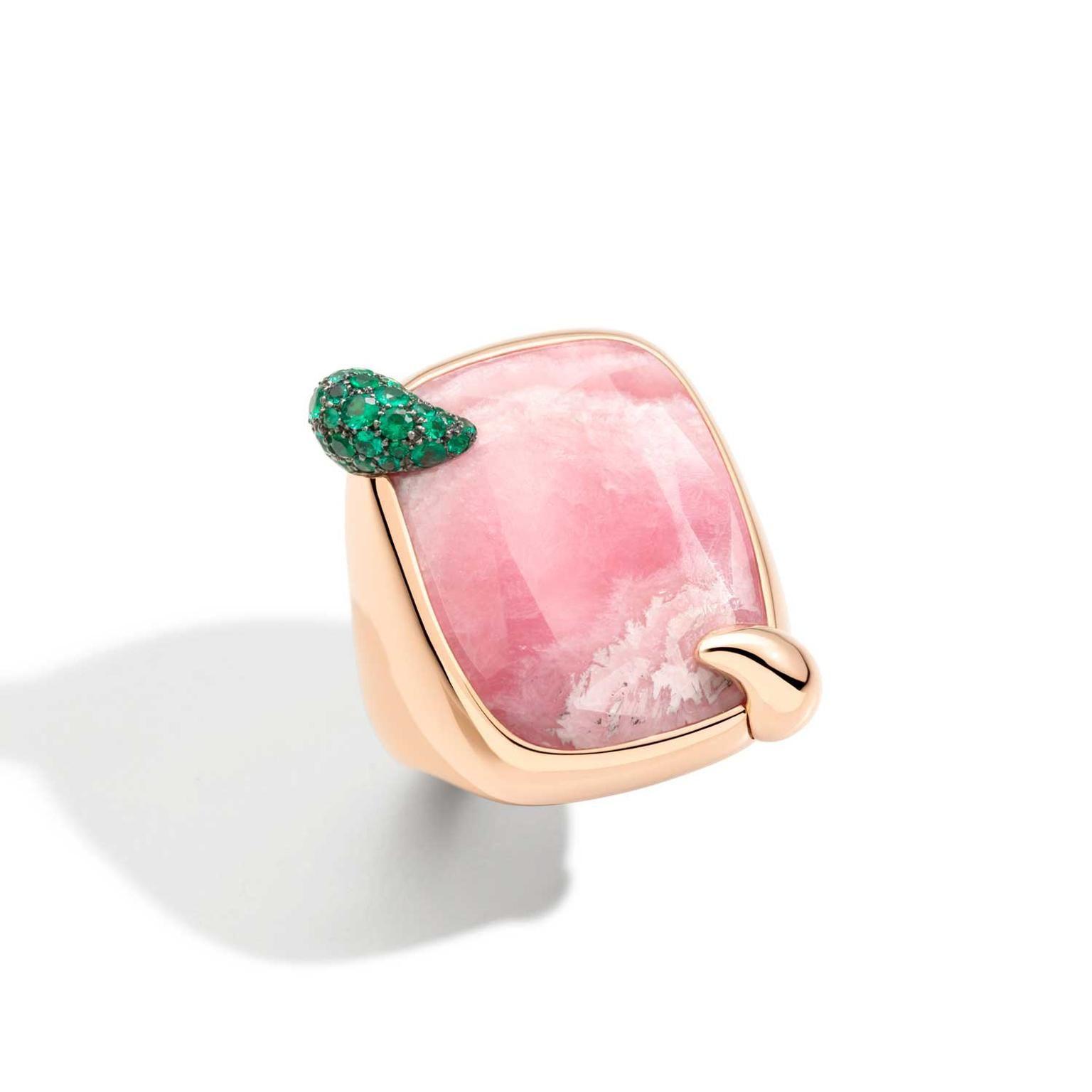 Pomellato Ritratto Pink Hawaiian Peony rhodochrosite ring