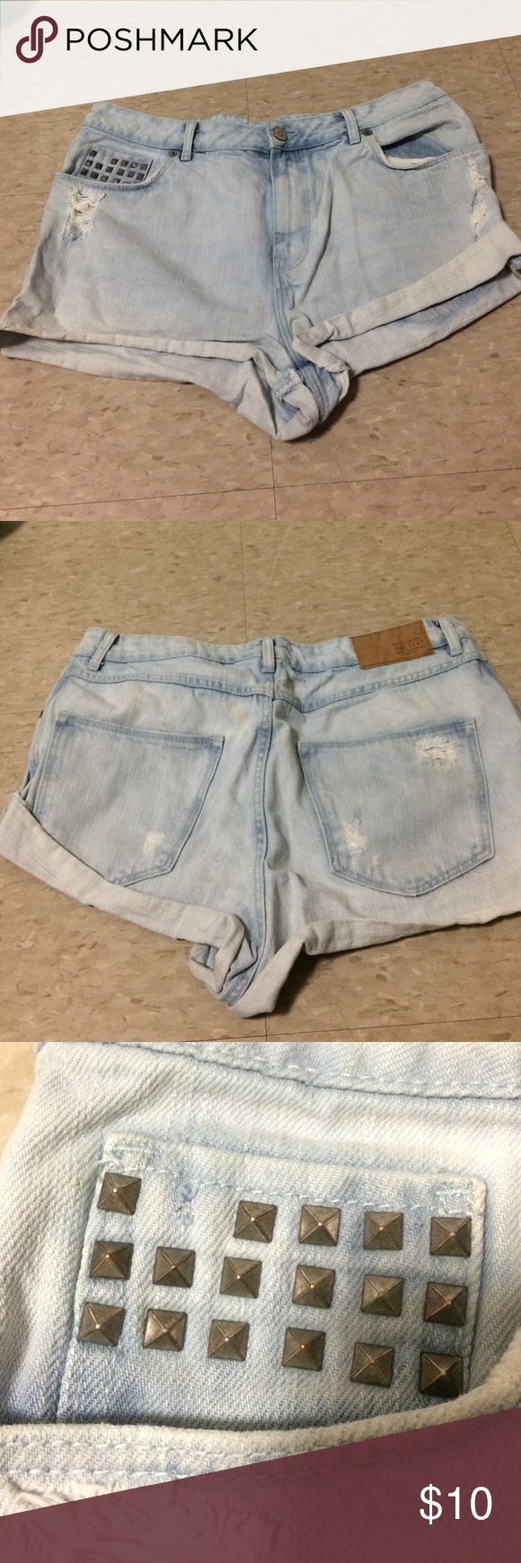 High rise shorts High rise shorts. Missing one stud. Says size 12 but they seem small for a 12. I wear a size 4/5. Worn once Divided Shorts Jean Shorts