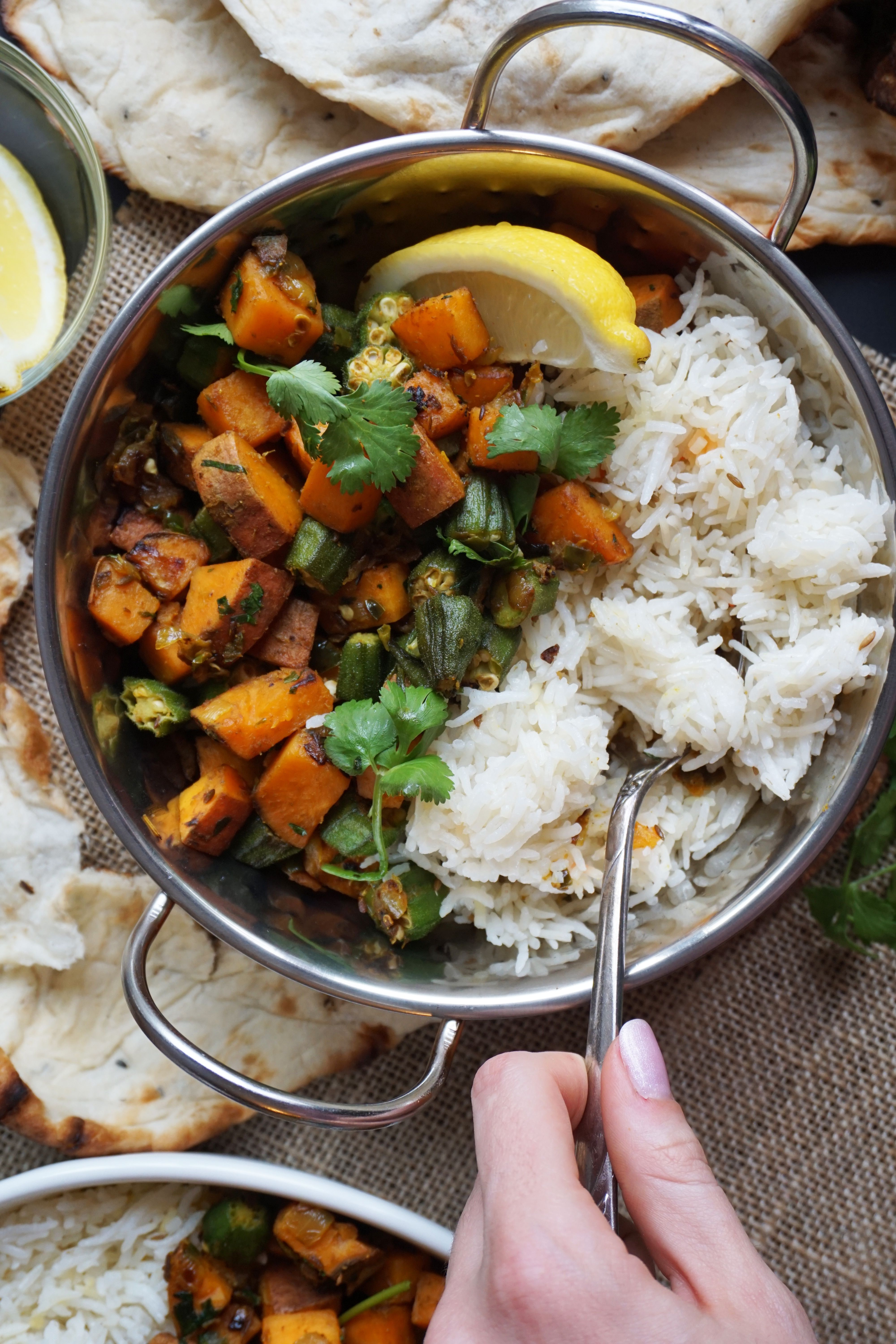 Crispy Sweet Potato And Okra Curry