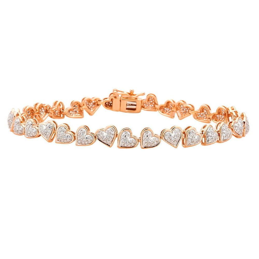 1 52 Ct 10k Rose Gold Certified Diamond Heart Bridal Tennis Bracelet Women 7 Caratsforyo Diamond Bracelet Design Swarovski Crystal Bracelet Womens Bracelets