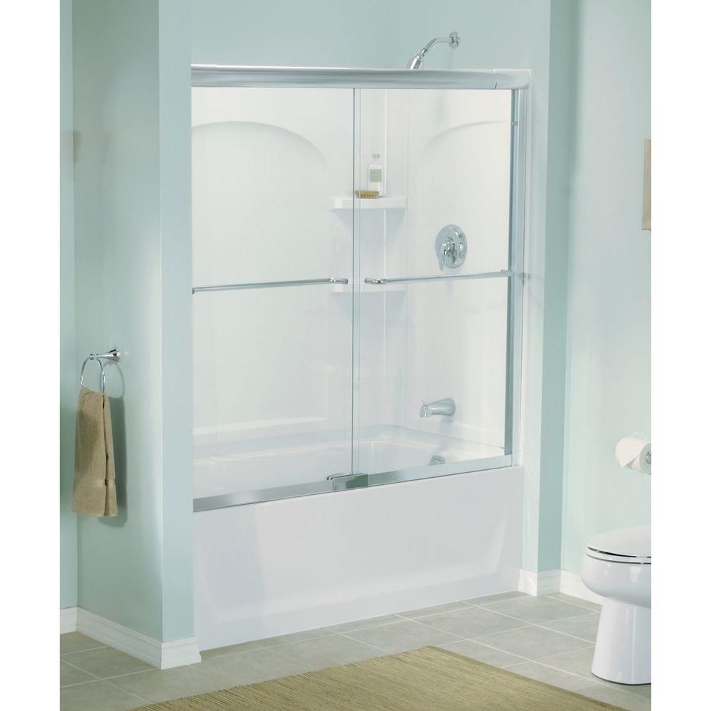 Sterling Finesse 57 5 In X 55 75 In Frameless Sliding Tub Shower