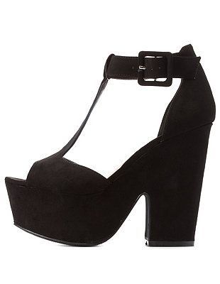 730f8cb395e6 Black Suede T-Strap Platform Chunky Heel