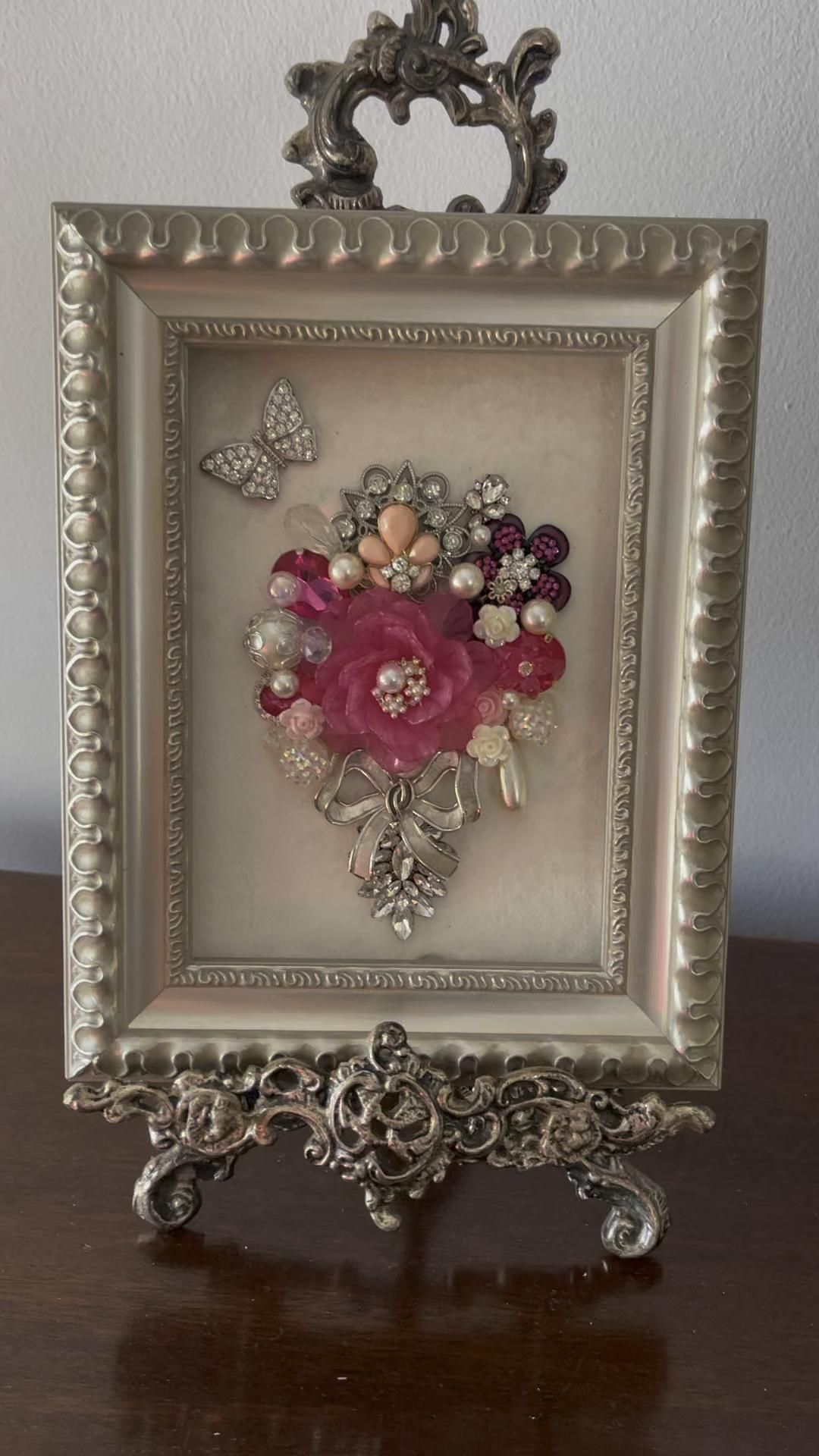Handcrafted Jewelry Art Framed Vintage Floral Bouq