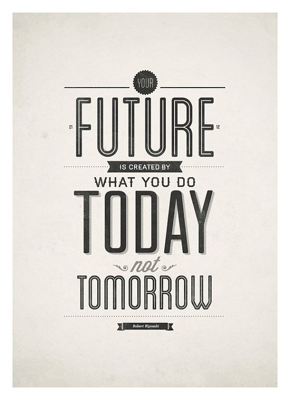 Inspirational quotes poster Your future is created by NeueGraphic ...