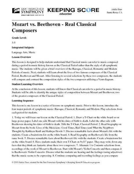 Mozart Vs Beethoven Real Classical Composers Lesson