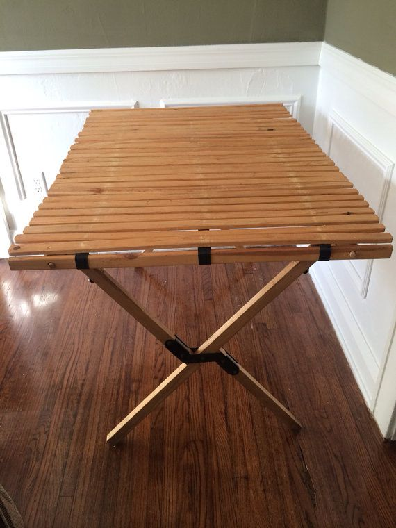 Vintage Topsport Camping Table Mid Century Wood Table