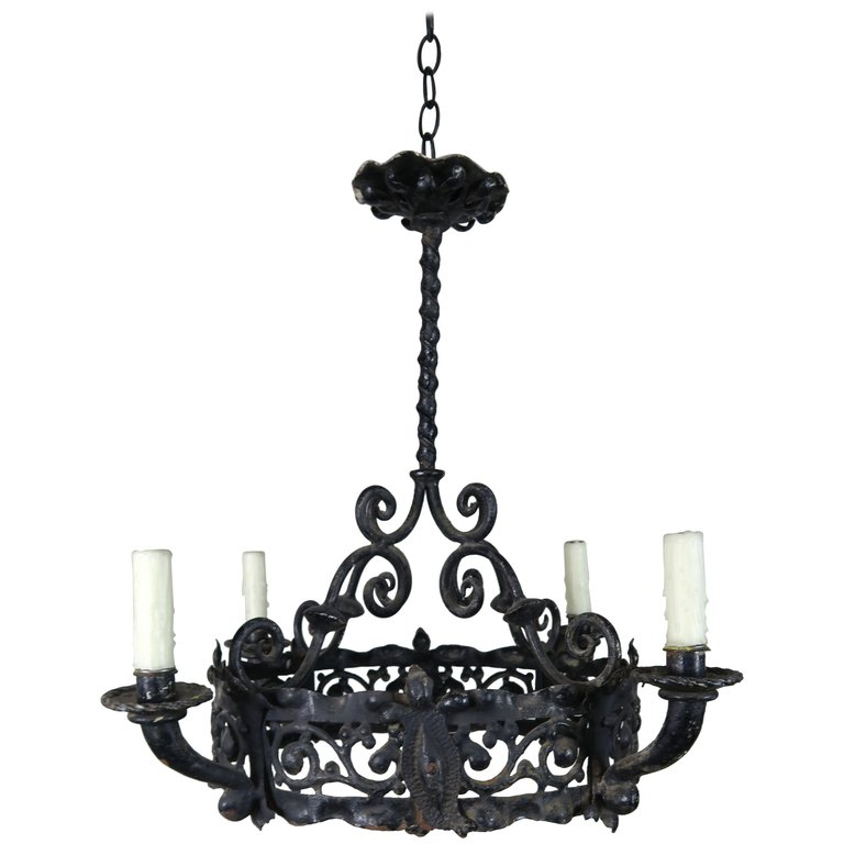 19th Century Spanish Wrought Iron Chandelier With Images