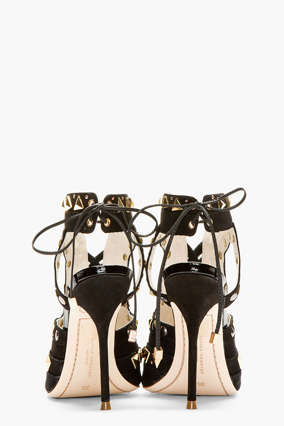 SOPHIA WEBSTER Black & gold Riko Stud heels