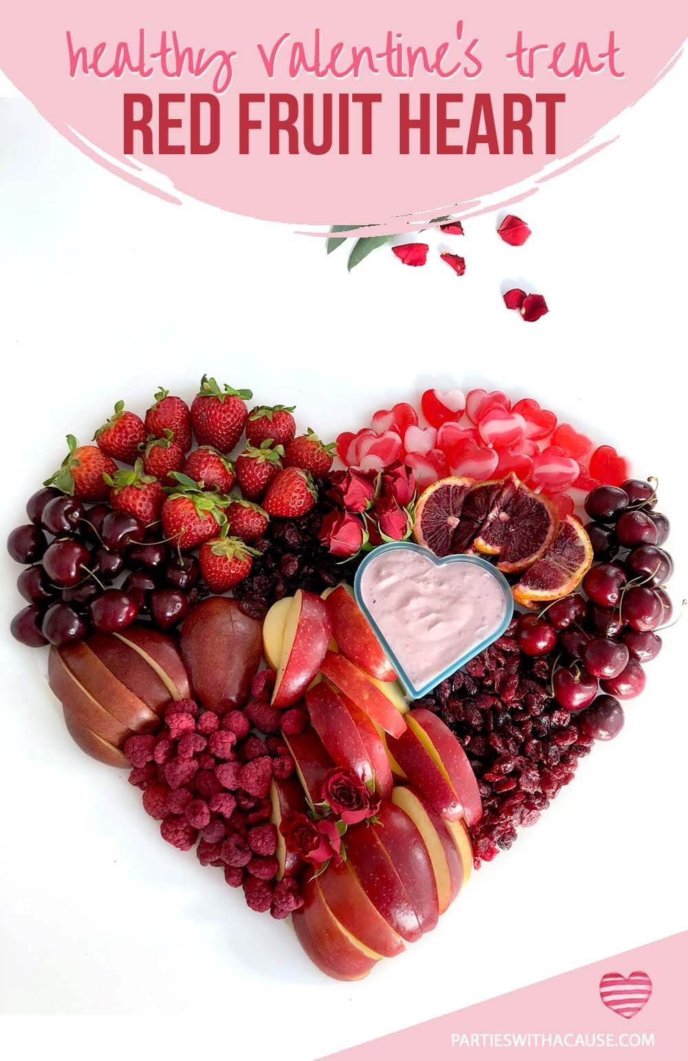 Lighten Up Your Valentine S Day Celebration With A Healthy Food Idea Like This Heart Made From All Red Fruits And A Li In 2021 Healthy Valentines Treats Red Food Food