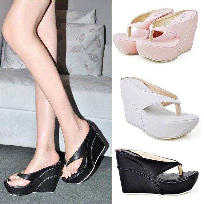 Women's HOT Sale Flip Flops Wedges platform Pumps Sandals High Heels Beach  Shoes