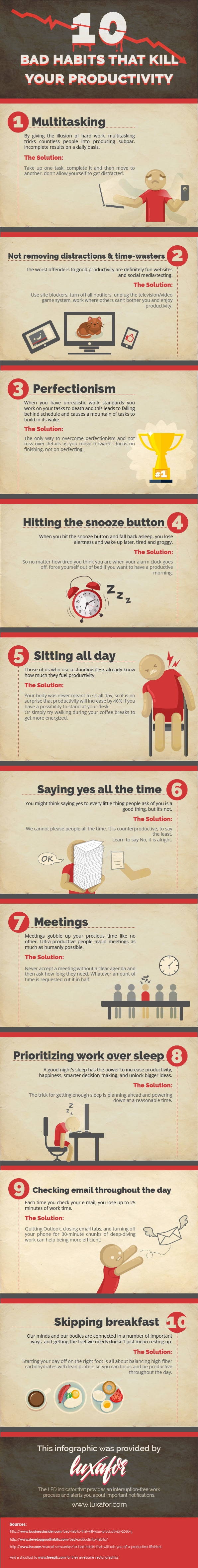 10 Bad Habits That Kill Your Productivity #Infographic