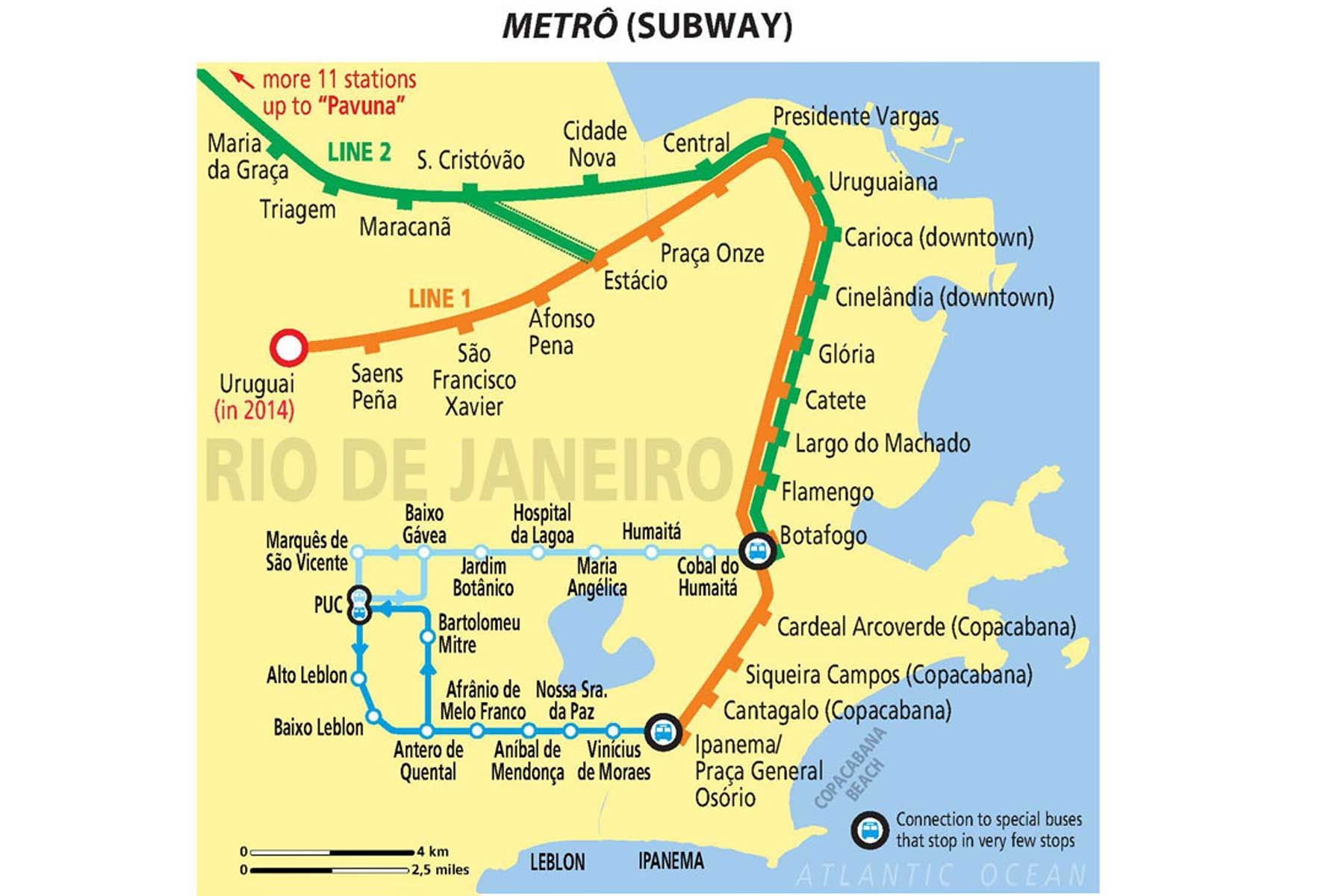 Map of Rio de Janeiro Subway So clean and beautiful Rio de