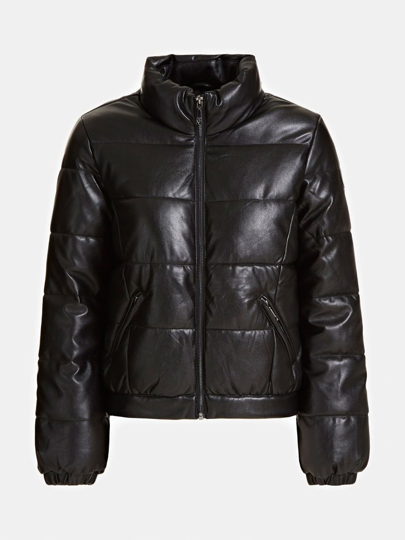 Faux Leather Puffer Jacket Guess Official Online Store [ 1067 x 800 Pixel ]