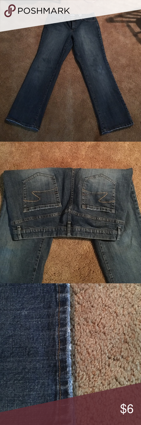 Tint blue jeans. SZ:14. Tint blue jeans. SZ:14. Inseam 30. Slight wear at ankles. Tint Pants Boot Cut & Flare