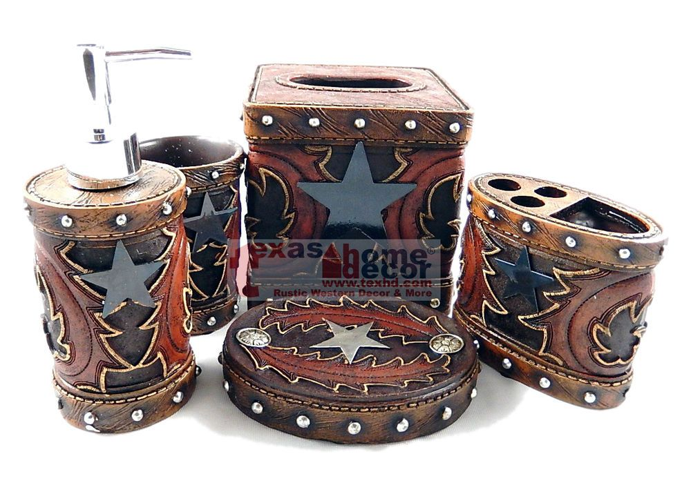 Western Star Flowery Bathroom Accessory Set 5 Pieces Rustic Leather Look Studs Unbranded Rustic Leather Bathroom Accessories Sets Western Bathroom Accessories