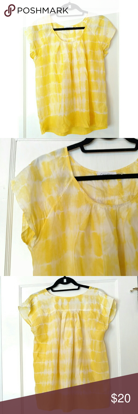 Calvin Klein Tie Dye Silk Blouse 100% silk short sleeve blouse from Calvin Klein.  Yellow and white tie dye design. Soft and lightweight. Perfect flowy, comfortable summer shirt. Calvin Klein Tops Blouses