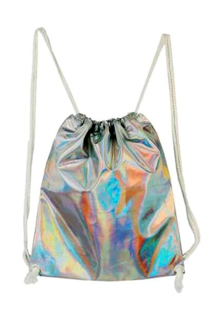 Silver Drawstring Holographic Backpack - Choies.com