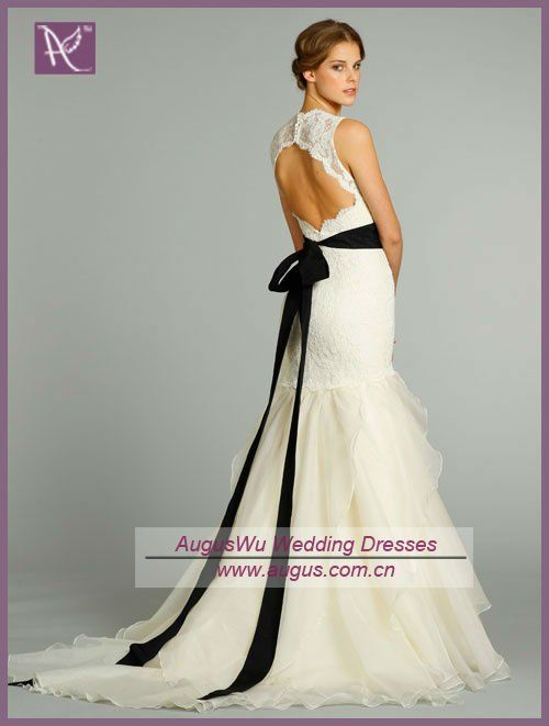French Country Wedding Dress Awb0881 2017 Backless Black Belt Lace Trumpet Bridal Dresses