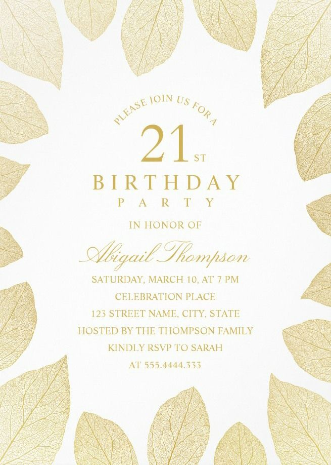 Unique Gold Leaves 21st Birthday Invitations Elegant Frame