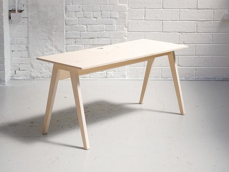 Home Studio Desk Modern Office Furniture Birch Plywood Compact Single Person Home Office Scandinavian Writing Computer Table Desk In 2020 Office Furniture Modern White Office Furniture Record Storage Box