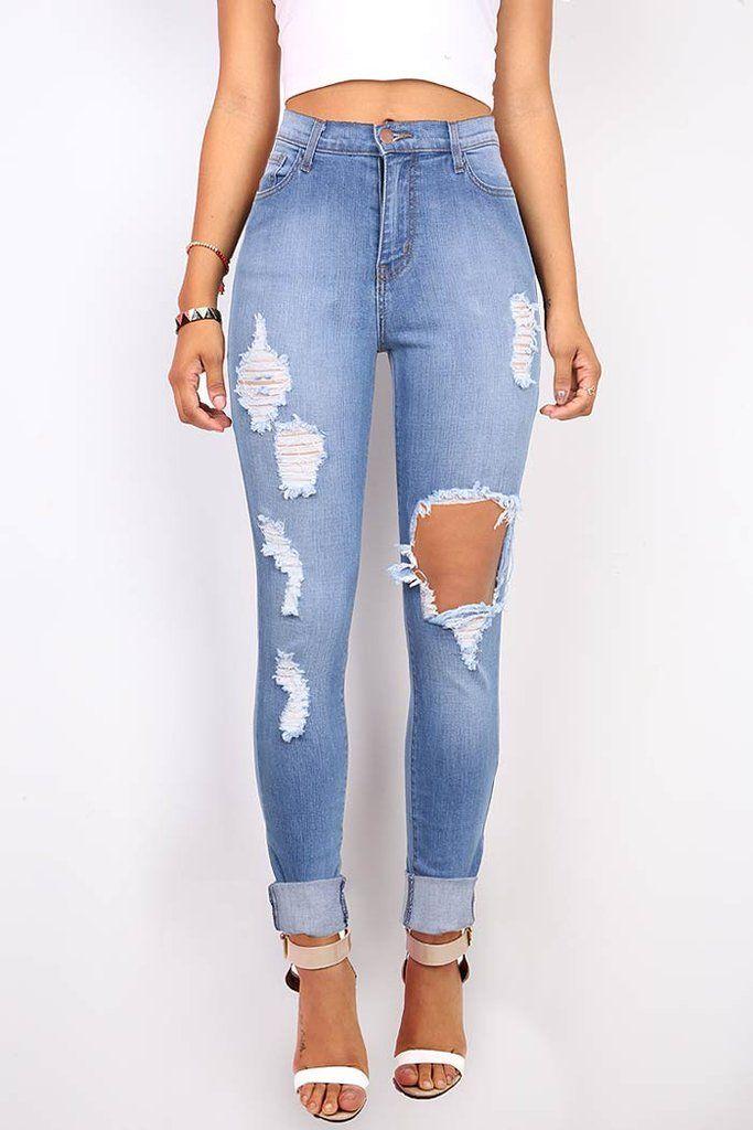 High Waist Plus Size Casual Jeans Mid Blue L