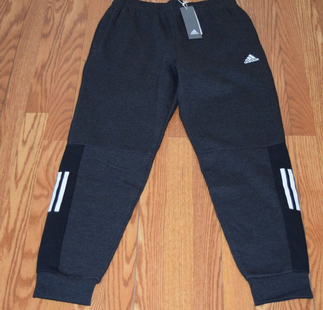 NWT Mens ADIDAS Heather Black Side Logo Fleece Active Jogger Sweat Pants  Size L  Active df09fce473f