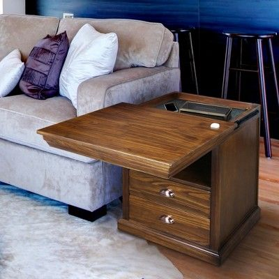 Lincoln Nightstand With Concealed Compartment Mocha Brown Flora