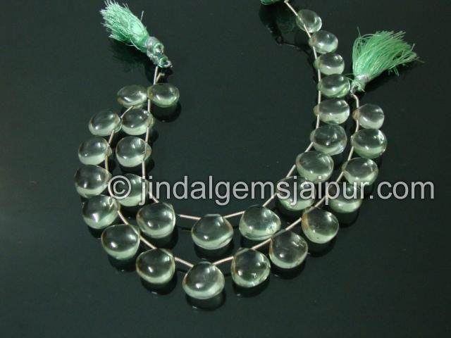 Green Amethyst Plain Heart Gemstone Beads.