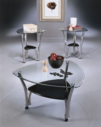 Triangular Glass Coffee Table And Matching End Tables Are A Lovely
